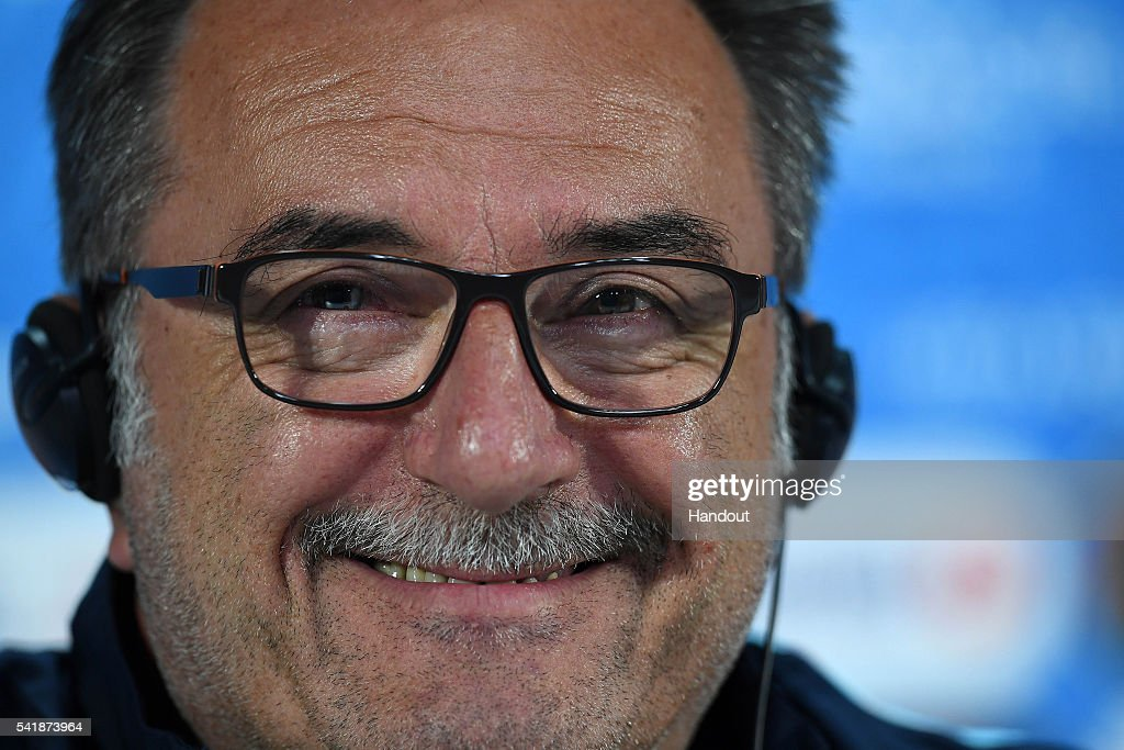 In this handout image provided by UEFA, Croatia manager Ante Cacic answers questions from the media during a press conference on June 20, 2016 in Bordeaux, France.