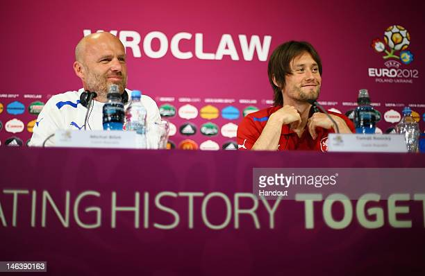 In this handout image provided by UEFA Czech Republic coach Michal Bilek and Tomas Rosicky of Czech Republic talk to the media during a UEFA EURO...