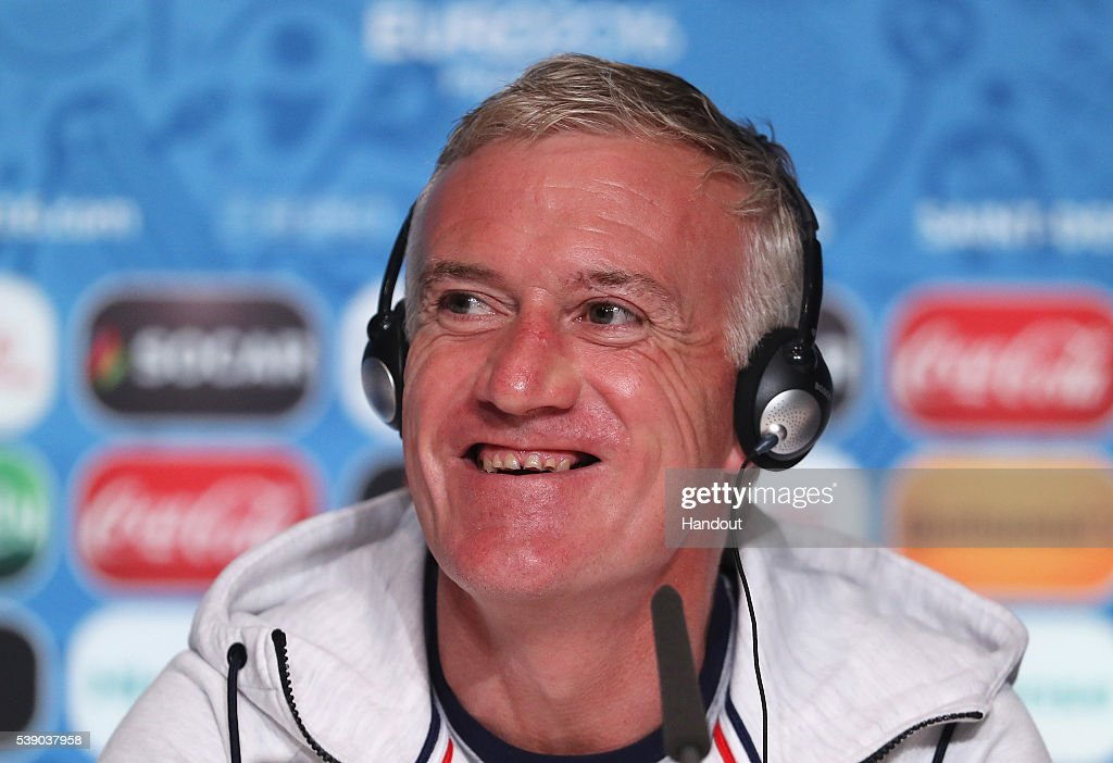 In this handout image provided by UEFA, <a gi-track='captionPersonalityLinkClicked' href=/galleries/search?phrase=Didier+Deschamps&family=editorial&specificpeople=213607 ng-click='$event.stopPropagation()'>Didier Deschamps</a>, coach of France talks during a press conference on June 9, 2016 in Saint-Denis, France.