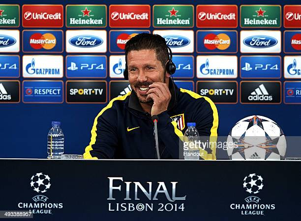 In this handout image provided by UEFA Diego Simeone coach of Club Atletico de Madrid attends a press conference ahead of the UEFA Champions League...