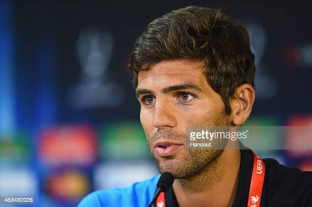 In this handout image provided by UEFA Federico Fazio of Sevilla FC talks to the media during the Sevilla FC press conference at Cardiff City Stadium...