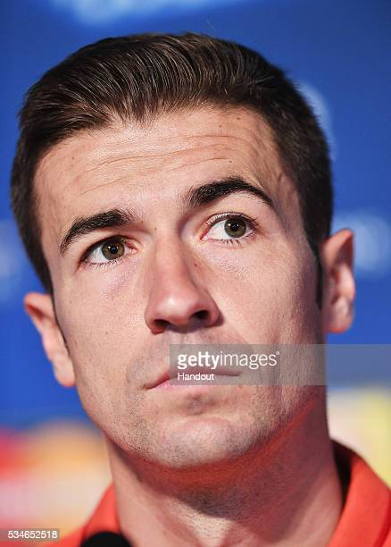 In this handout image provided by UEFA Gabi captain of Athlectic Madrid talks to the media during Atletico de Madrid press conference on the eve of...