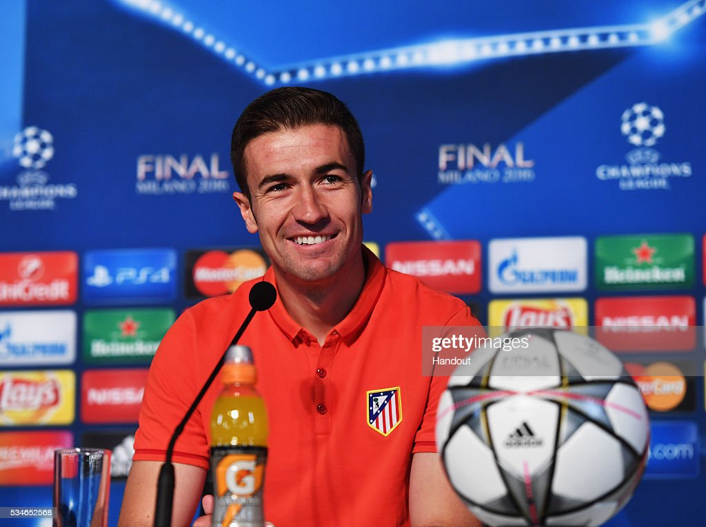 In this handout image provided by UEFA Gabi, captain of Athlectic Madrid talks to the media during Atletico de Madrid press conference on the eve of the UEFA Champions League Final against Real Madrid at Stadio Giuseppe Meazza on May 27, 2016 in Milan, Italy.