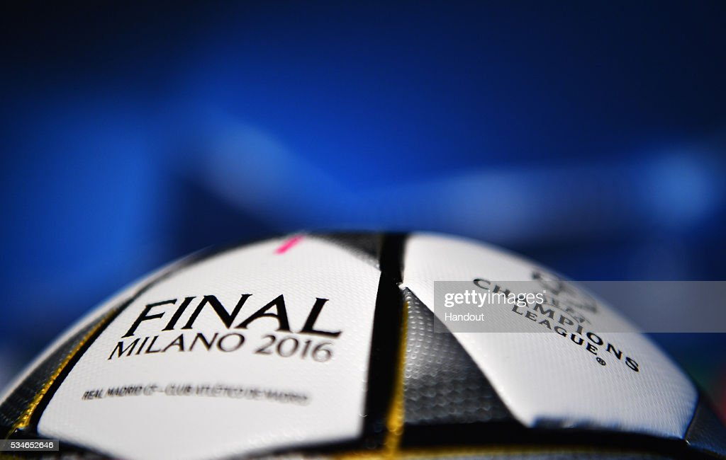 In this handout image provided by UEFA General view of match ball during a Atletico de Madrid press conference on the eve of the UEFA Champions League Final against Real Madrid at Stadio Giuseppe Meazza on May 27, 2016 in Milan, Italy.