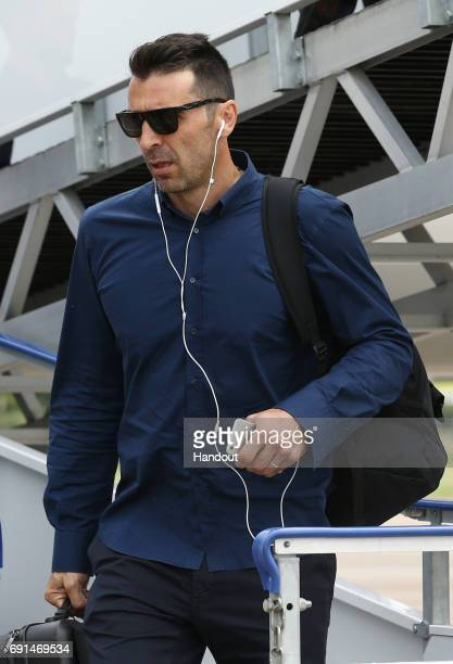In this handout image provided by UEFA Gianluigi Buffon of Juventus arrives prior to the UEFA Champions League Final between Juventus and Real Madrid...