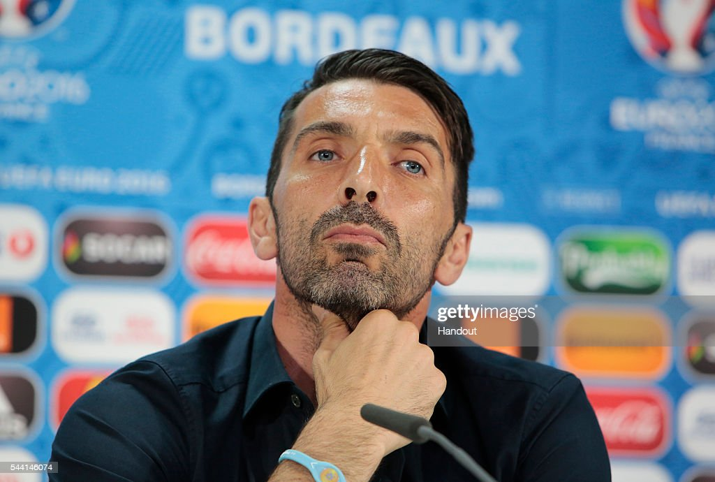 In this handout image provided by UEFA Gianluigi Buffon speaks to the media during the Italy press conference on July 1 2016 in Bordeaux France