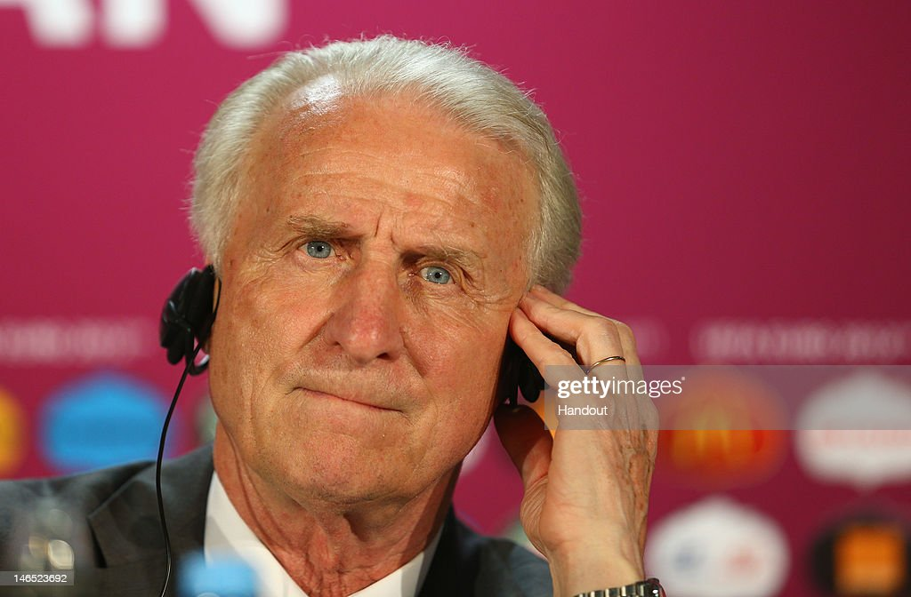 In this handout image provided by UEFA, <a gi-track='captionPersonalityLinkClicked' href=/galleries/search?phrase=Giovanni+Trapattoni&family=editorial&specificpeople=209002 ng-click='$event.stopPropagation()'>Giovanni Trapattoni</a> of Ireland talks to the media during a UEFA EURO 2012 press conference after the UEFA EURO 2012 Group C match between Italy and Republic of Ireland on June 18, 2012 in Poznan, Poland.