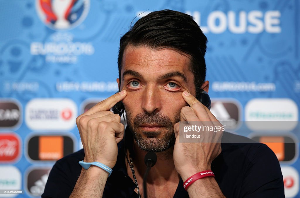 In this handout image provided by UEFA, Goalkeeper <a gi-track='captionPersonalityLinkClicked' href=/galleries/search?phrase=Gianluigi+Buffon&family=editorial&specificpeople=208860 ng-click='$event.stopPropagation()'>Gianluigi Buffon</a> of Italy attends the press conference at Stadium Municipal on June 16, 2016 in Toulouse, France.