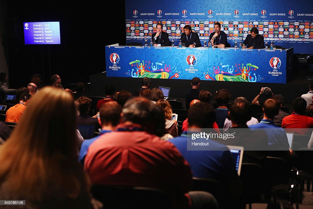In this handout image provided by UEFA head coach <a gi-track='captionPersonalityLinkClicked' href=/galleries/search?phrase=Antonio+Conte&family=editorial&specificpeople=2379002 ng-click='$event.stopPropagation()'>Antonio Conte</a> and <a gi-track='captionPersonalityLinkClicked' href=/galleries/search?phrase=Gianluigi+Buffon&family=editorial&specificpeople=208860 ng-click='$event.stopPropagation()'>Gianluigi Buffon</a> of Italy attend a press conference at Stade de France on June 26, 2016 in Paris, France.