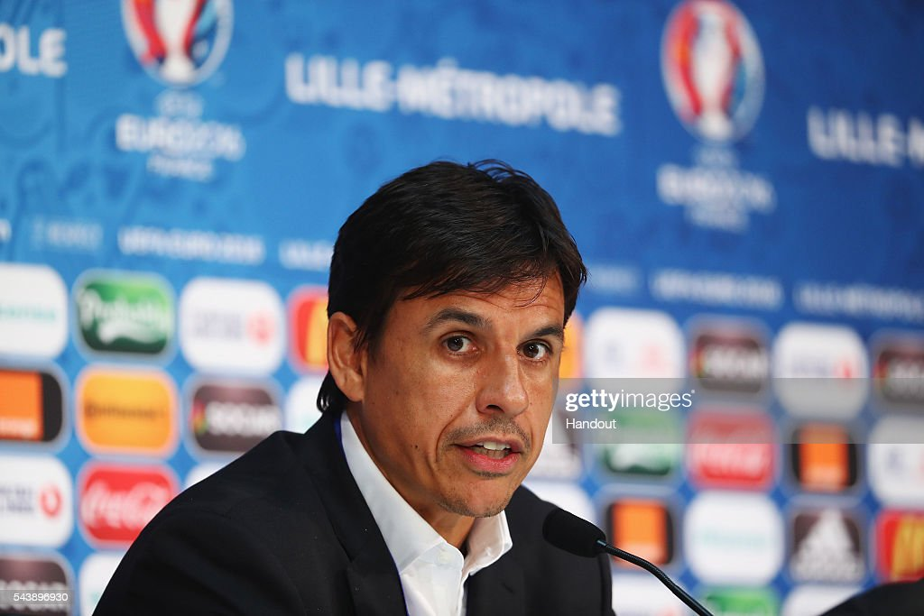 In this handout image provided by UEFA, head coach Chris Coleman of Wales attends a press conference at Stade Pierre Mauroy on June 30, 2016 in Lille, France.