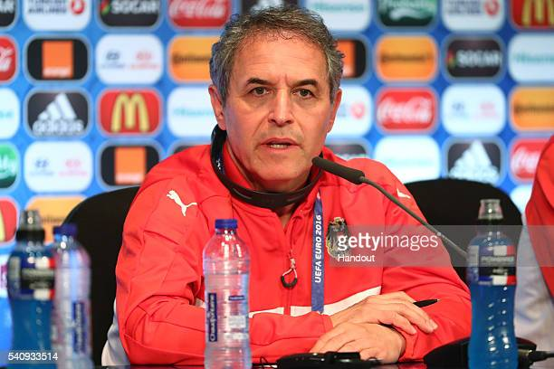 In this handout image provided by UEFA head coach Marcel Koller of Austria talks during a press conference at Parc des Princes on June 17 2016 in...