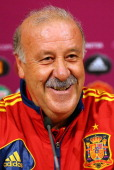 In this handout image provided by UEFA Head coach Vicente del Bosque of Spain talks to the media during a UEFA EURO 2012 press conference at the...