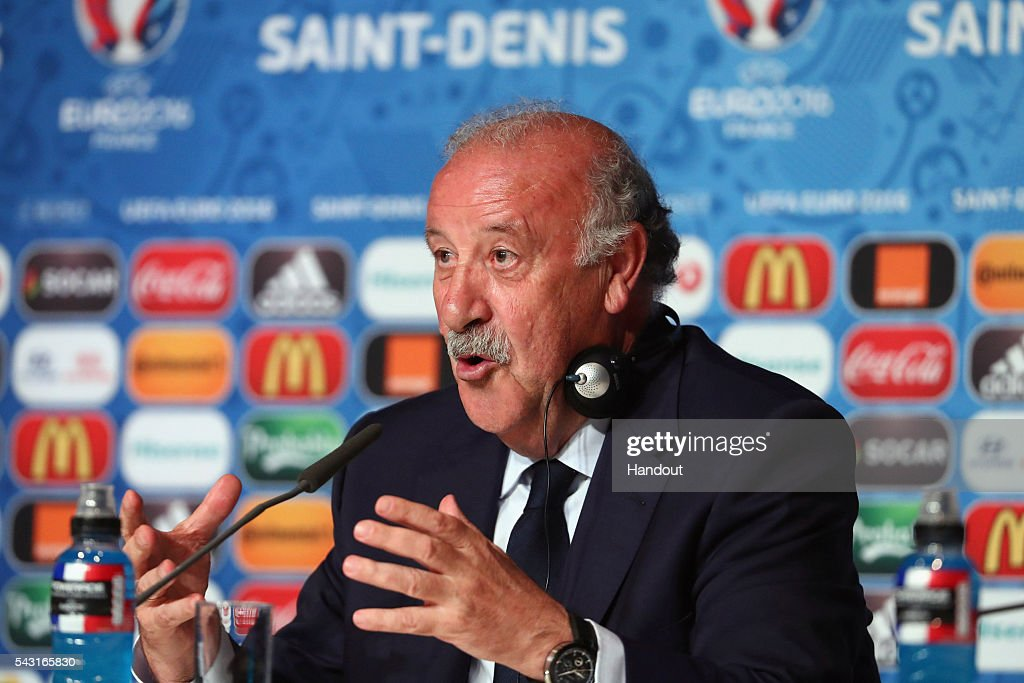 In this handout image provided by UEFA head coach <a gi-track='captionPersonalityLinkClicked' href=/galleries/search?phrase=Vicente+del+Bosque&family=editorial&specificpeople=2400668 ng-click='$event.stopPropagation()'>Vicente del Bosque</a> of Spain attends a press conference at Stade de France on June 26, 2016 in Paris, France.