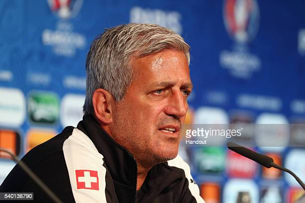 In this handout image provided by UEFA head coach Vladimir Petkovic of Switzerland attends a press conference on June 14 2016 in Paris France