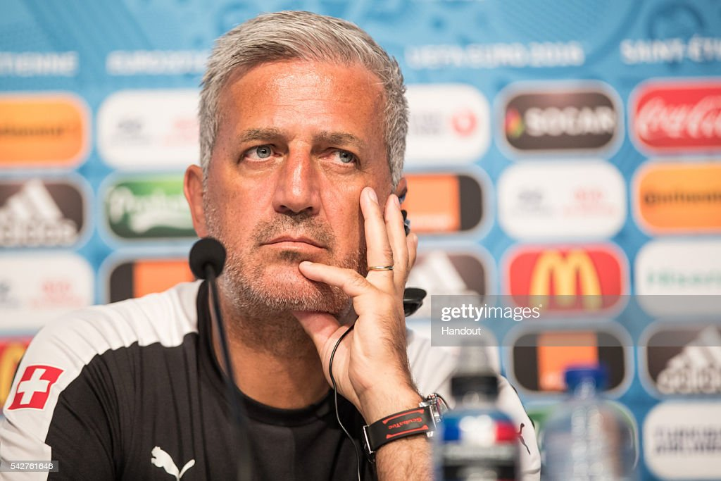 In this handout image provided by UEFA, Head coach Vladimir Petkovic of Switzerland attends a press conference on June 21, 2016 in Saint-Etienne, France.