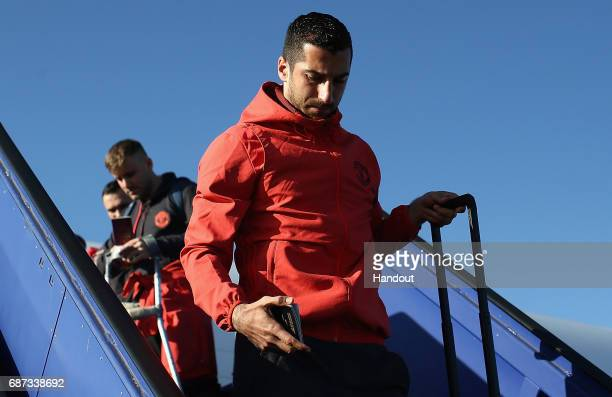 In this handout image provided by UEFA Henrikh Mkhitaryan of Manchester United arrives ahead of the UEFA Europa League Final between Ajax and...