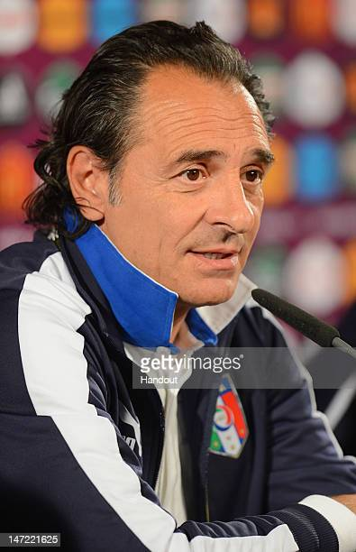 In this handout image provided by UEFA Italy coach Cesare Prandelli speaks during a press conference ahead of their UEFA EURO 2012 semifinal match...