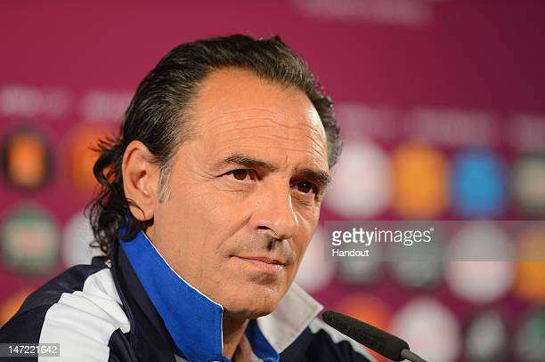 In this handout image provided by UEFA Italy coach Cesare Prandelli attends a press conference ahead of their UEFA EURO 2012 semifinal match against...