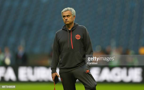 In this handout image provided by UEFA Jose Mourinho Manager of Manchester United looks on during a walk around The Friends Arena ahead of the UEFA...