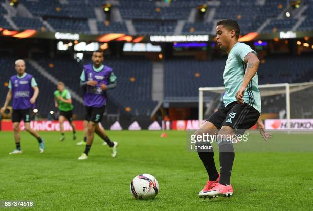 In this handout image provided by UEFA Justin Kluivert of Ajax in action during a training session at The Friends Arena ahead of the UEFA Europa...