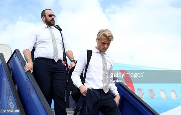 In this handout image provided by UEFA Kasper Dolberg of Ajax arrives with team mates ahead of the UEFA Europa League Final between Ajax and...
