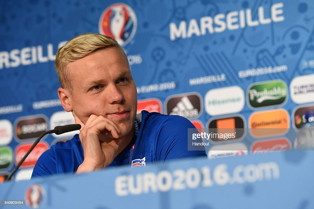 In this handout image provided by UEFA, Kolbeinn Sigthorsson of Iceland faces the media during the Iceland press conference on June 17, 2016 in Marseille, France.