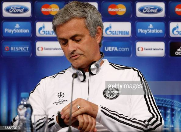 In this handout image provided by UEFA Manager Jose Mourinho talks to the media prior to the UEFA Super Cup match between Bayern Muenchen and Chelsea...