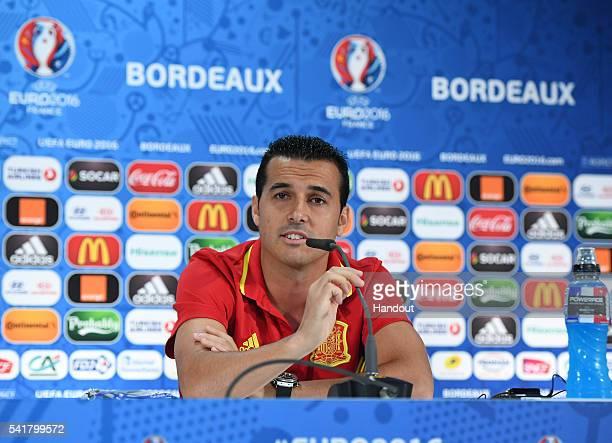 In this handout image provided by UEFA Pedro of Spain answers questions from the media during a press conferencev on June 20 2016 in Bordeaux France