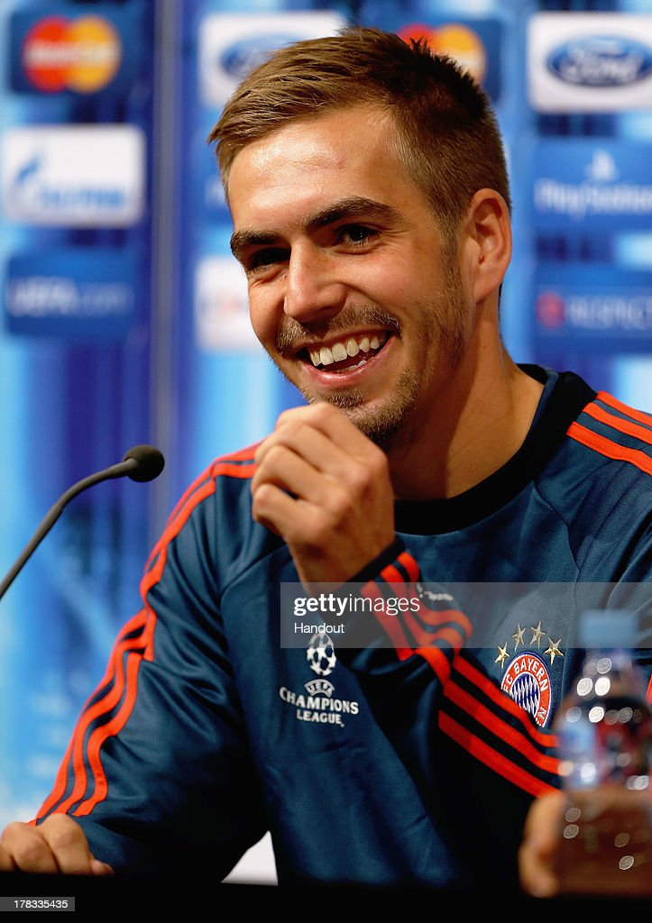 In this handout image provided by UEFA, Philipp Lahm of Bayern Munich talks to the media prior to the UEFA Super Cup match between Bayern Muenchen and Chelsea FC at Stadion Eden on August 29, 2013 in Prague, Czech Republic.