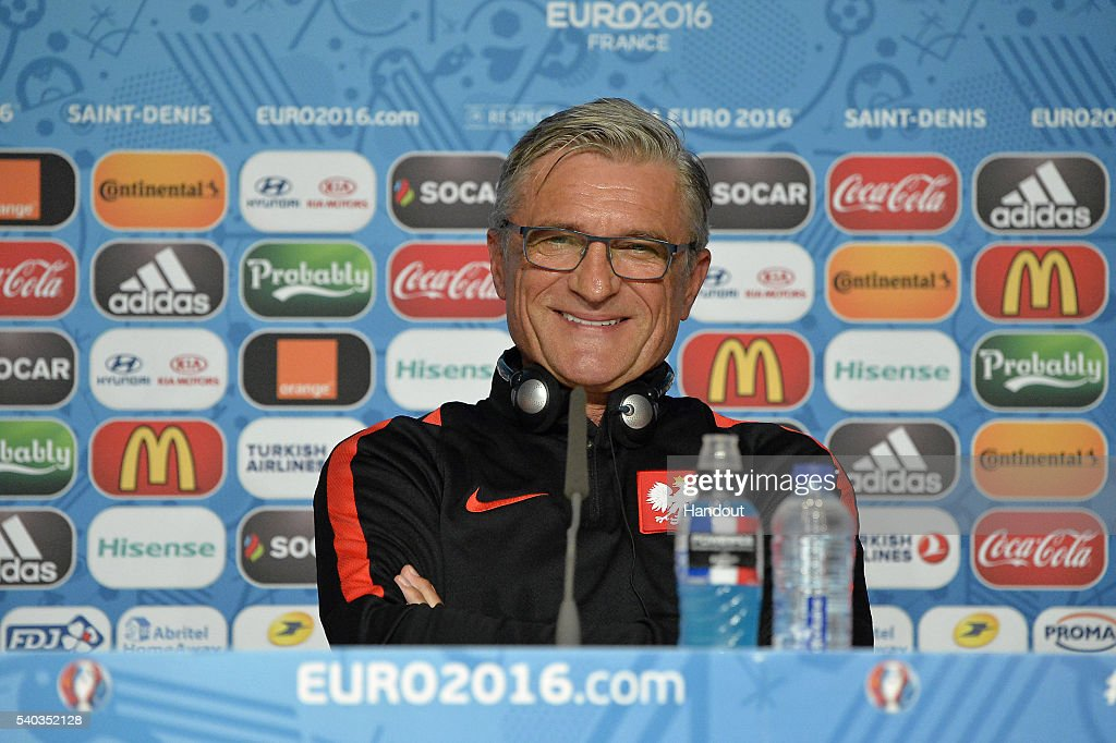 In this handout image provided by UEFA Poland Coach Adam Nawalka addresses the press during a Poland press conference on June 15, 2016 in Paris, France.
