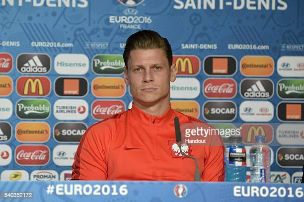 In this handout image provided by UEFA Poland player Lukasz Piszczek addresses the press during a Poland press conference on June 15 2016 in Paris...