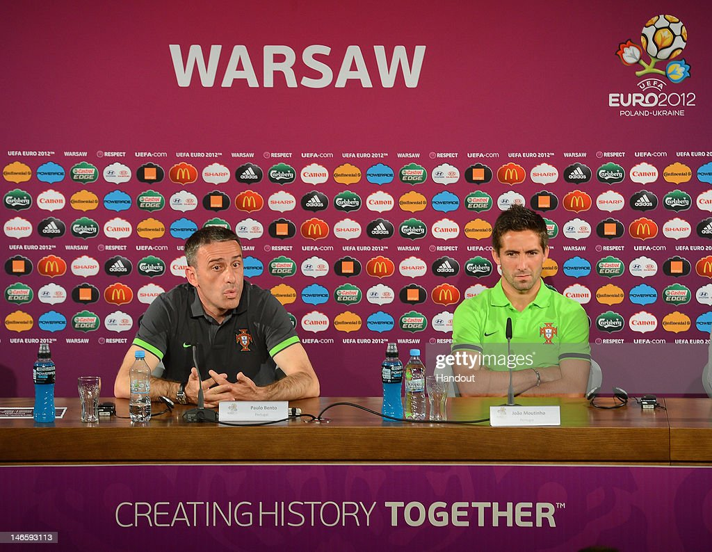 In this handout image provided by UEFA Portugal coach Paulo Bento and Joao Moutinho talk to the media during a UEFA EURO 2012 press conference at the...