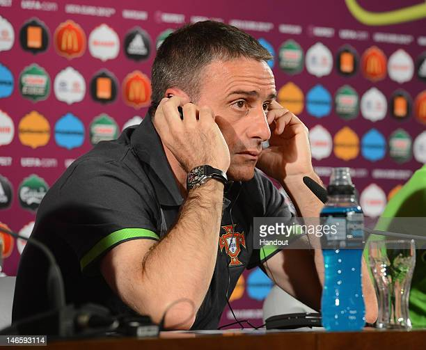 In this handout image provided by UEFA Portugal coach Paulo Bento talks to the media during a UEFA EURO 2012 press conference at the National Stadium...