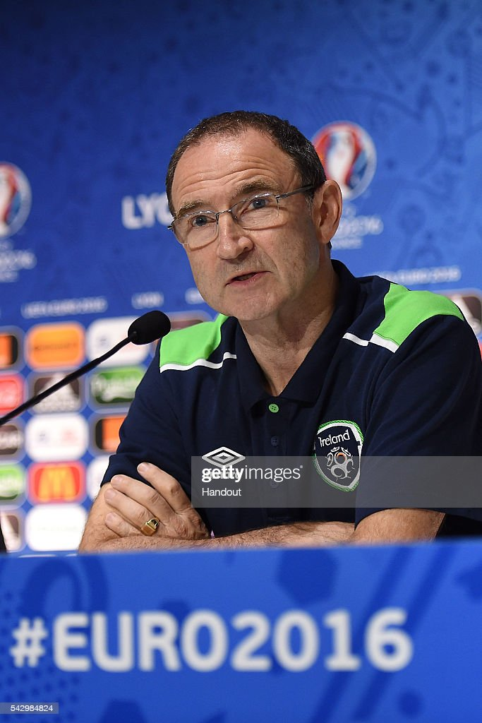 In this handout image provided by UEFA, Republic of Ireland head coach <a gi-track='captionPersonalityLinkClicked' href=/galleries/search?phrase=Martin+O%27Neill&family=editorial&specificpeople=201190 ng-click='$event.stopPropagation()'>Martin O'Neill</a> faces the media during the Republic of Ireland press conference on June 25, 2016 in Lyon, France.