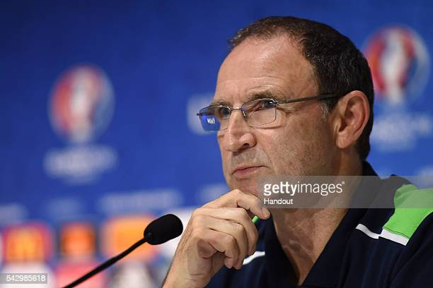 In this handout image provided by UEFA Republic of Ireland head coach Martin O'Neill faces the media during the Republic of Ireland press conference...