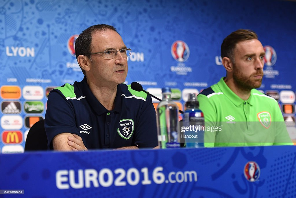 In this handout image provided by UEFA, Republic of Ireland head coach Martin O'Neill (L) faces the media during the Republic of Ireland press conference on June 25, 2016 in Lyon, France.