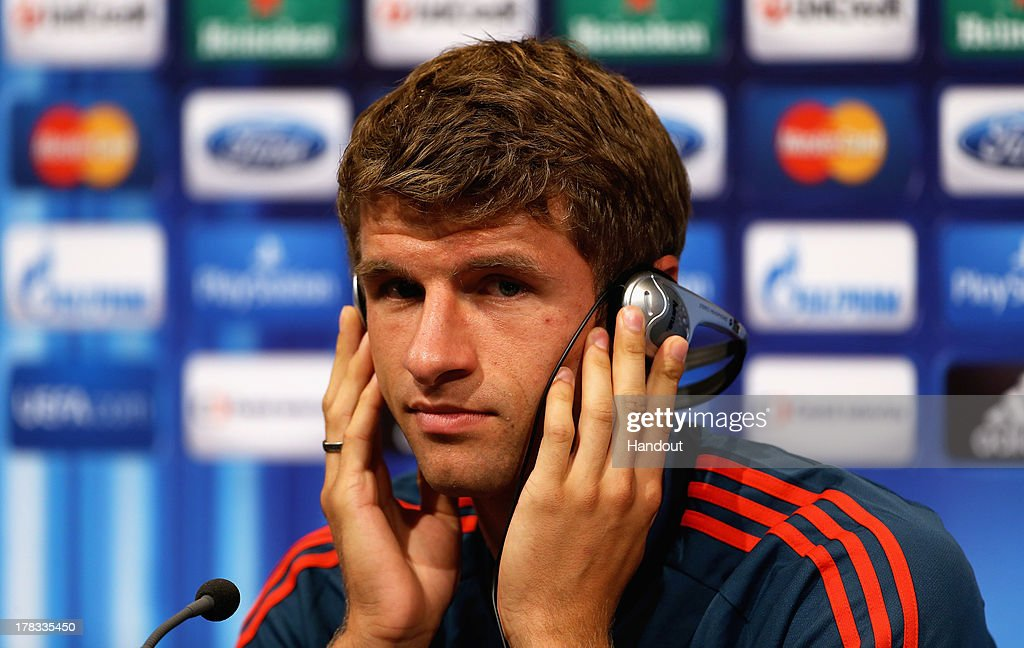 In this handout image provided by UEFA, Thomas Muller of Bayern Munich talks to the media prior to the UEFA Super Cup match between Bayern Muenchen and Chelsea FC at Stadion Eden on August 29, 2013 in Prague, Czech Republic.