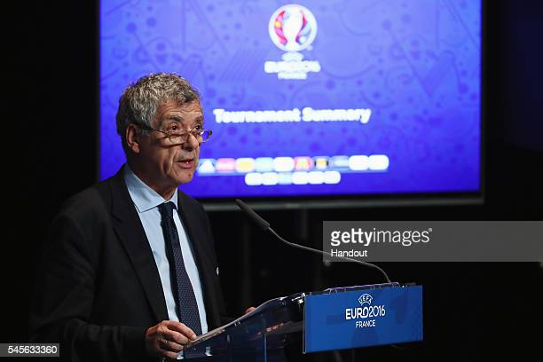In this handout image provided by UEFA UEFA Vice President Angel Maria Villar addresses the UEFA Euro 2016 closing press conference at Stade de...
