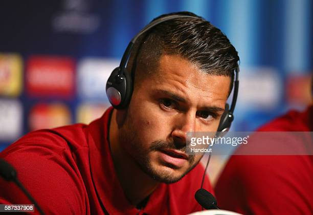 In this handout image provided by UEFA Vitolo talks to the media during the Sevilla Press Conference at Lerkendal Stadion on August 8 2016 in...