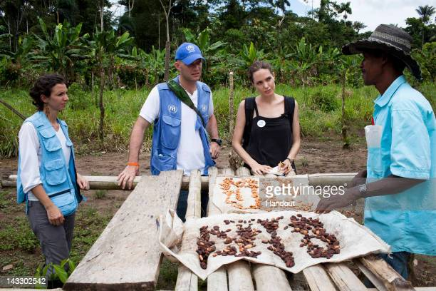 In this handout image provided by UNHCR UNHCR Special Envoy Angelina Jolie meets with Plinio in the Providencia community on April 22 2012 in Ecuador...