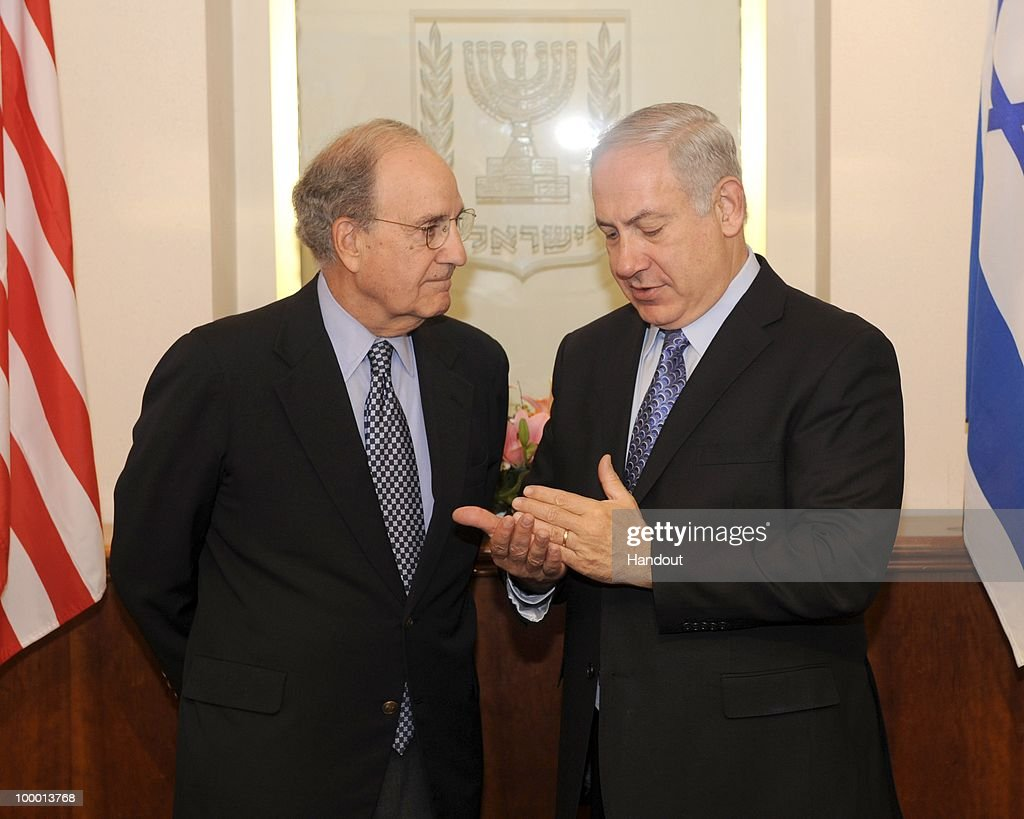In this handout image provided by U.S. Embassy Tel Aviv, US Special Envoy George Mitchell (L) speaks with Israeli Prime Minister Binyamin Netanyahu as they meet at the Prime Minister's office on May 20, 2010 in Tel Aviv, Israel. Special envoy Mitchell has initiated a new round of middle east talks, mediating between the Israelis and Palestinian National Authority, while both parties refuse to hold direct talks.
