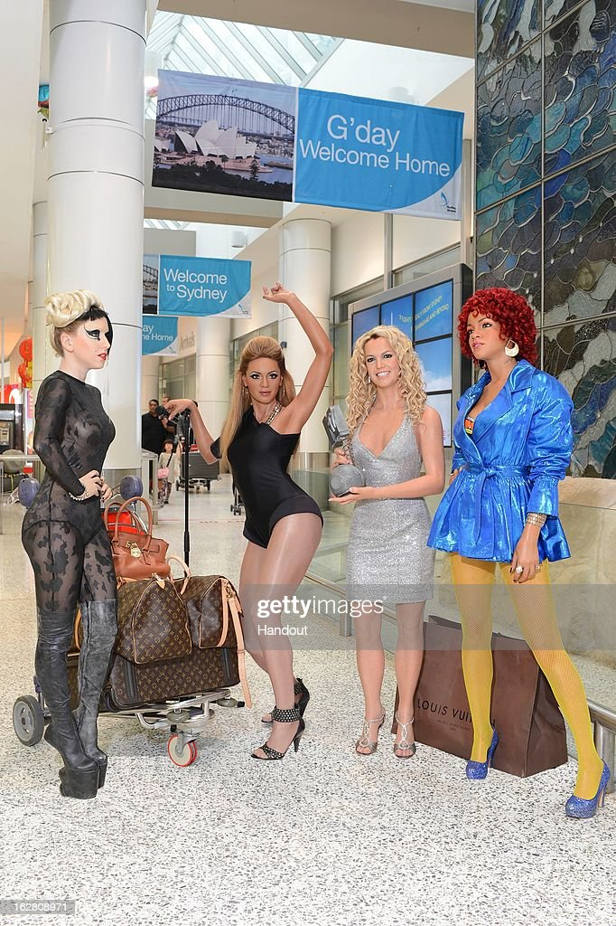 In this handout image provided by Wax figures of Beyonce, Britney Spears, Lady Gaga and Rihanna are at the Sydney Airport ahead of the Gay and Lesbian Mardi Gras on Saturday, on February 28, 2013, in Sydney, Australia.
