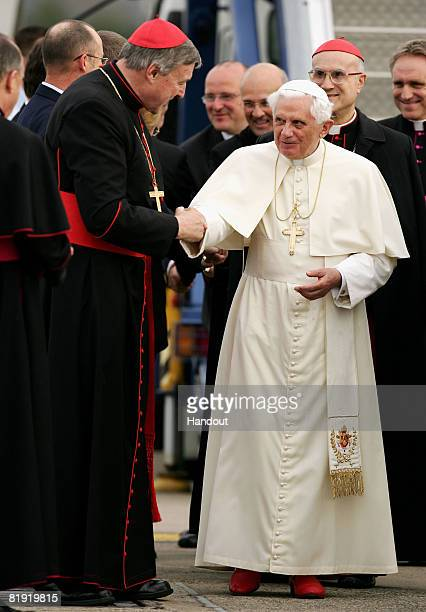 In this handout image provided by World Youth Day His Holiness Pope Benedict XVI is welcomed on his arrival in Australia by the Archbishop of Sydney...