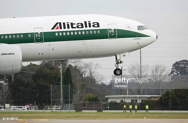In this handout image provided by World Youth Day the Alitalia boeing 737 aircraft carrying His Holiness Pope Benedict XVI arrives at the Richmond...