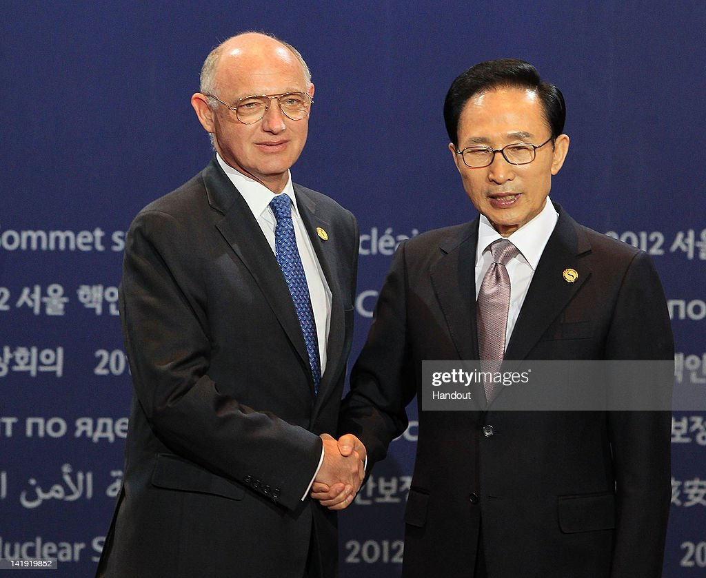 In this handout image provided by Yonhap News, Argentinean Foreign Minister <a gi-track='captionPersonalityLinkClicked' href=/galleries/search?phrase=Hector+Timerman&family=editorial&specificpeople=6769851 ng-click='$event.stopPropagation()'>Hector Timerman</a> and South Korean President Lee Myung-bak pose at the welcoming ceremony for the Nuclear Security Summit at COEX on March 26, 2012 in Seoul, South Korea. World leaders gather at Seoul to discuss on the issues to prevent possible nuclear terrorism and recurrence of meltdown of nuclear power plants and to minimize nuclear material across the world.