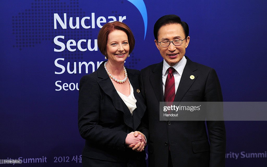 In this handout image provided by Yonhap News, Australian Prime Minister <a gi-track='captionPersonalityLinkClicked' href=/galleries/search?phrase=Julia+Gillard&family=editorial&specificpeople=787281 ng-click='$event.stopPropagation()'>Julia Gillard</a> and South Korean President Lee Myung-bak pose for photogrpahs prior to their bilateral meeting during the 2012 Seoul Nuclear Security Summit at COEX on March 27, 2012 in Seoul, South Korea. World leaders gather at Seoul to discuss on the issues to prevent possible nuclear terrorism and recurrence of meltdown of nuclear power plants and to minimize nuclear material across the world.