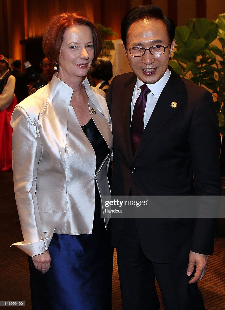 In this handout image provided by Yonhap News, Australian Prime Minister Julia Gillard and South Korean President Lee Myung-bak pose at a special dinner after the 2012 Seoul Nuclear Security Summit at a Seoul hotel on March 27, 2012 in Seoul, South Korea. World leaders are gathering in Seoul to discuss nuclear terrorism prevention, proactive safety precautions for nuclear power plants and efforts to minimize nuclear materials across the world.