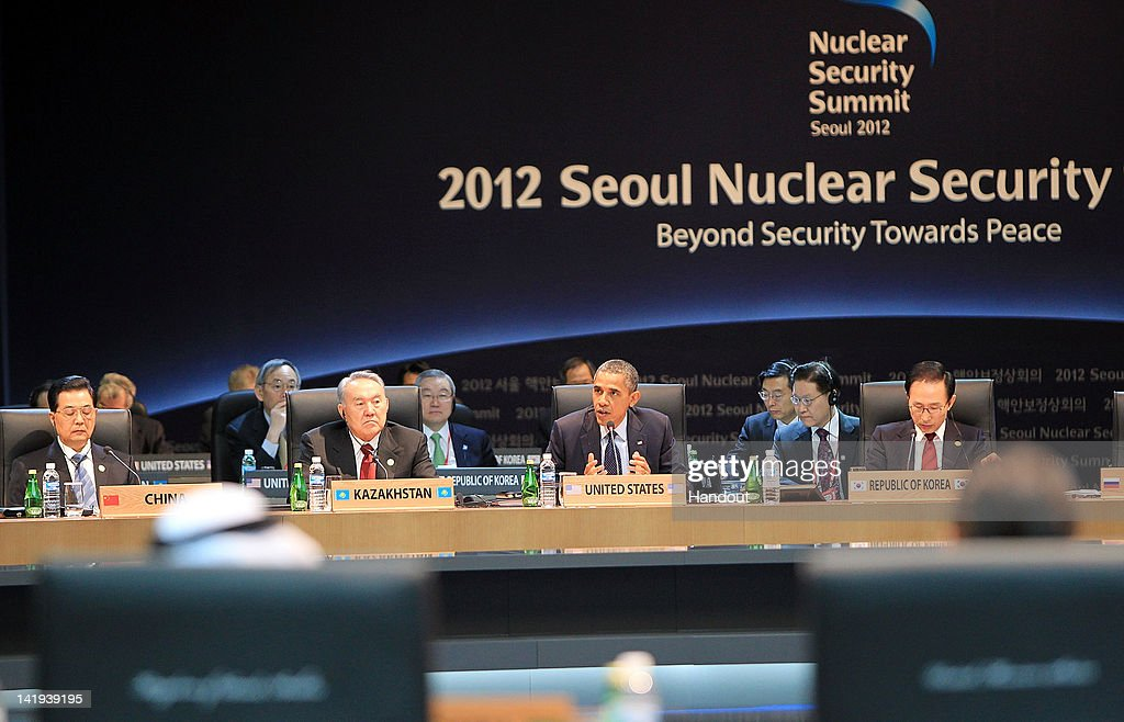 In this handout image provided by Yonhap News US President Barack Obama speaks while Chinese President Hu Jintao Kazakhstan President Nursultan...
