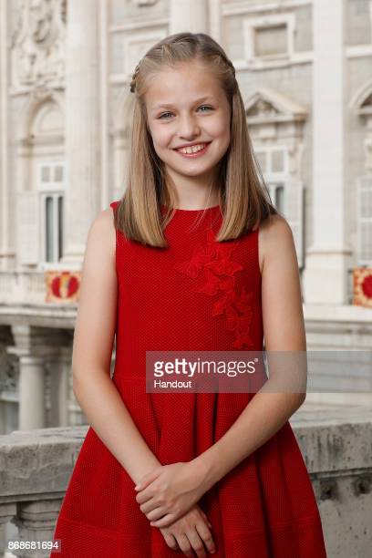 In this handout image released by the royal family of Spain Leonor Princess of the Asturias poses for an official portrait to commemorate her 12th...