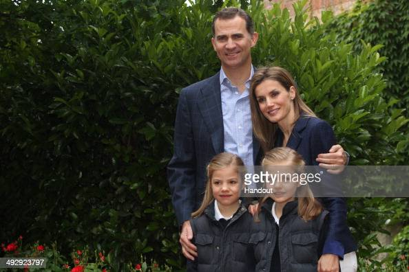 In this handout image supplied by Casa de SM el Rey Their Royal Highnesses Prince Felipe of Spain and Princess Letizia of Spain pose for a photograph...